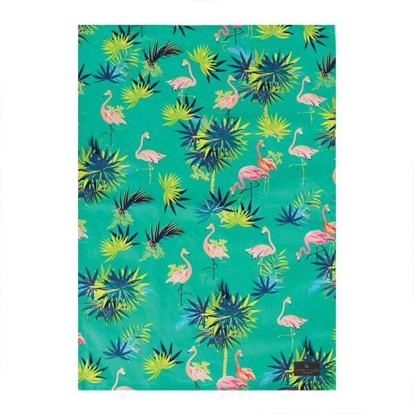 Sara Miller Tahiti Flamingo Repeat Tea Towel
