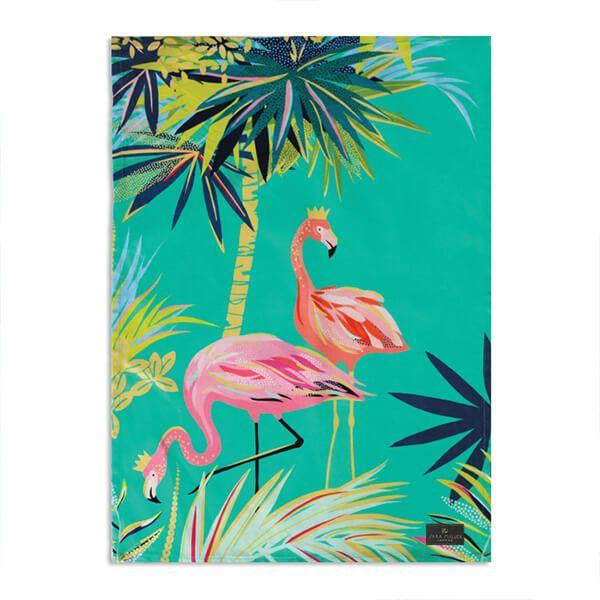 Sara Miller Tahiti Flamingo Placement Tea Towel