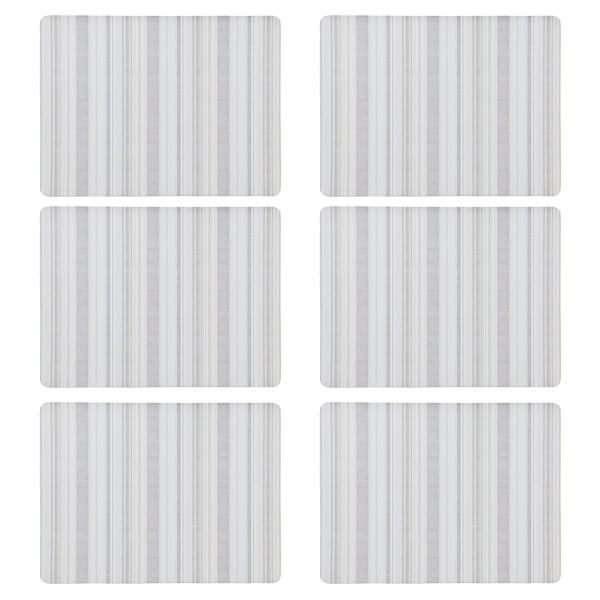 Denby Set Of 6 Cream Stripe Cork Backed Placemats