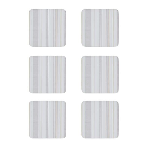Denby Set Of 6 Cream Stripe Cork Backed Coasters