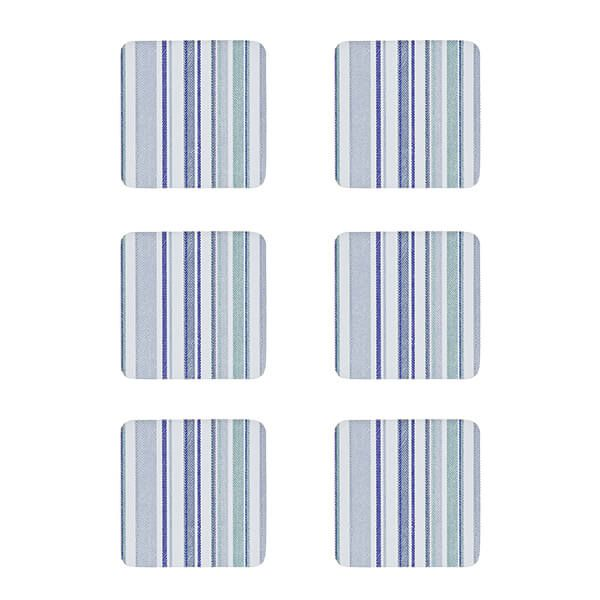 Denby Set Of 6 Blue Stripe Cork Backed Coasters