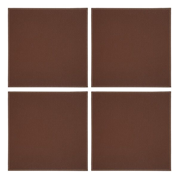 Denby Set Of 4 Brown Faux Leather Placemats