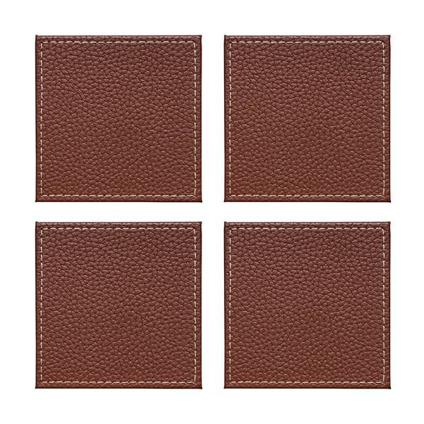 Denby Set Of 4 Brown Faux Leather Coasters