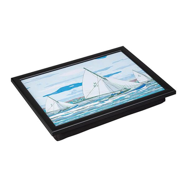 Denby Sailing Lap Tray With Black Edge