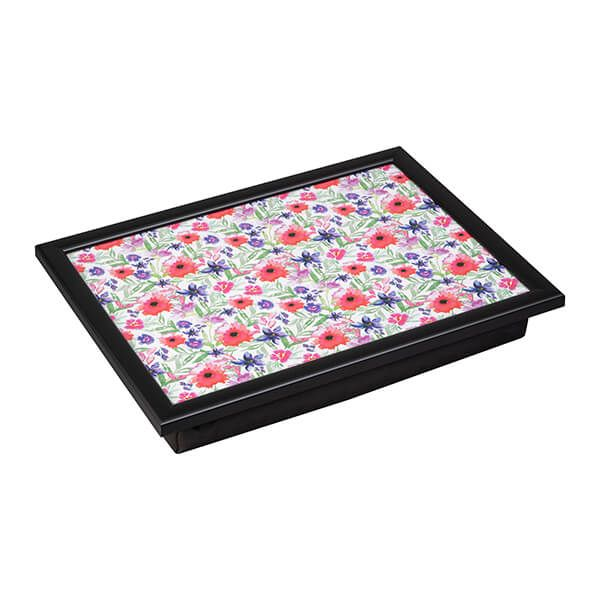 Denby Watercolour Floral Lap Tray With Black Edge