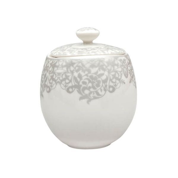 Denby Monsoon Filigree Silver Covered Sugar Bowl