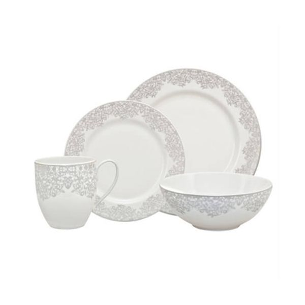Denby Monsoon Filigree Silver 16 Piece Tableware Set