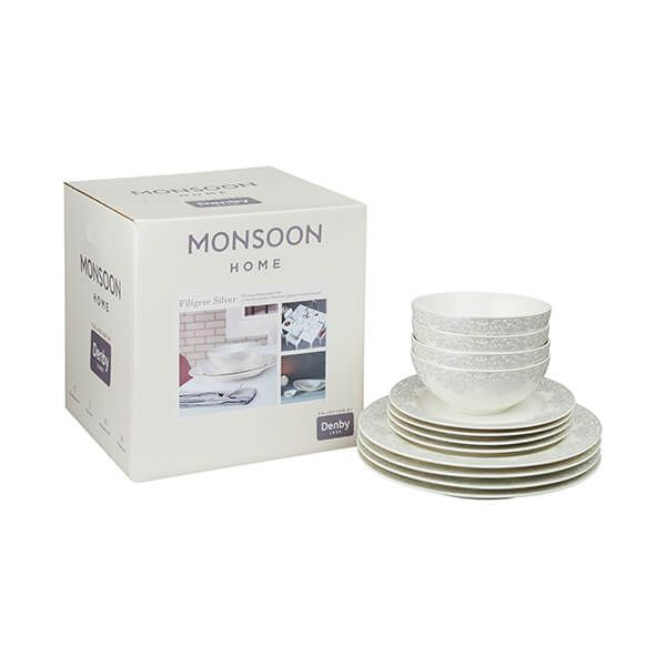 Denby Monsoon Filigree Silver 12 Piece Tableware Set