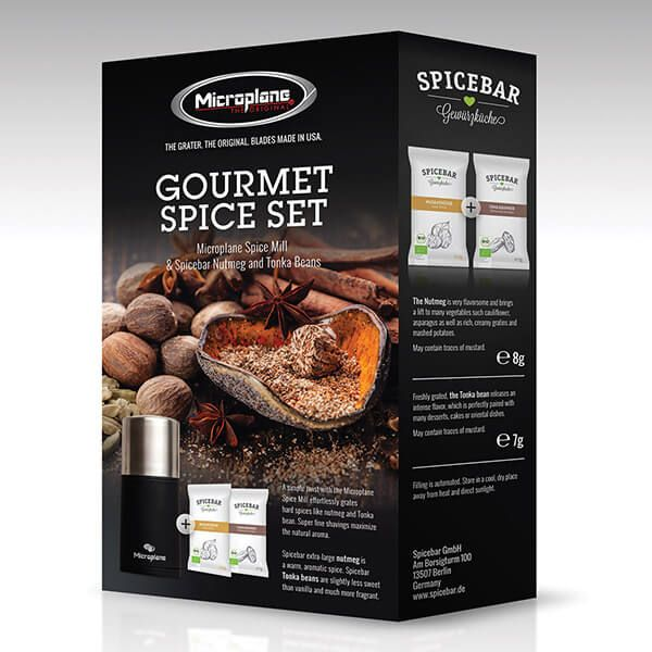 Microplane Gourmet Spice Set - Spice Mill & Spicebar Nutmegs and Tonka Beans
