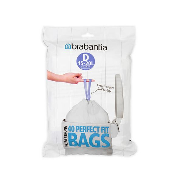 Brabantia Perfectfit Bags Size D 15 Litre 40 Bag Dispenser Pack