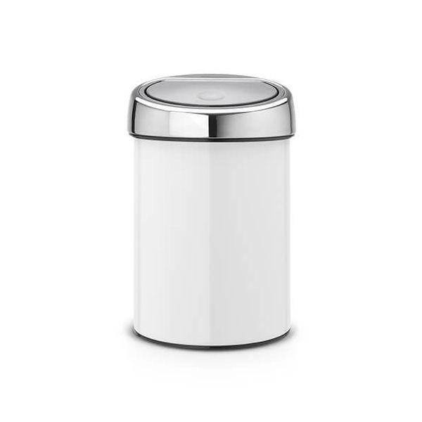 Brabantia Touch Bin 3 Litre White / Brilliant Steel Lid