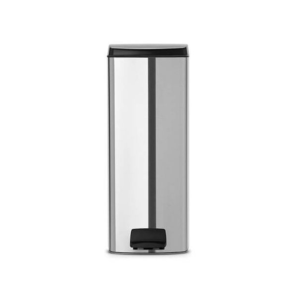 Brabantia Silent Pedal Bin Rectangular 25 Litre Matt Steel Fingerprint Proof