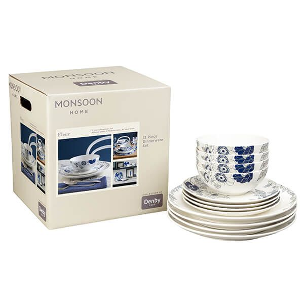 Denby Monsoon Fleur 12 Piece Tableware Set