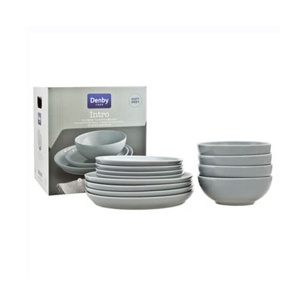 Denby Intro Soft Grey 12 Piece Tableware Set