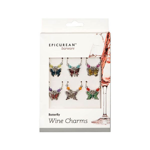 Epicurean Barware Butterfly Wine Charms