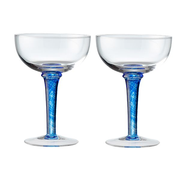 Denby Imperial Blue Set Of 2 Champagne Saucers
