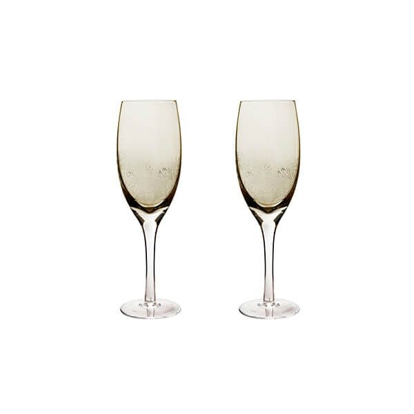 Denby Monsoon Lucille Gold Set Of 2 White Wine Glasses
