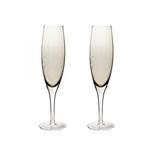 Denby Monsoon Lucille Gold Set Of 2 Champagne Flutes