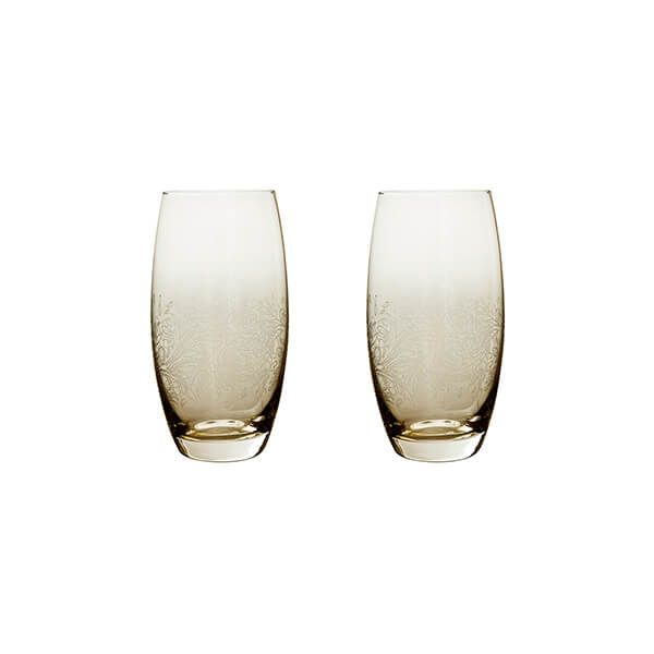 Denby Monsoon Lucille Gold Set Of 2 Large Tumblers