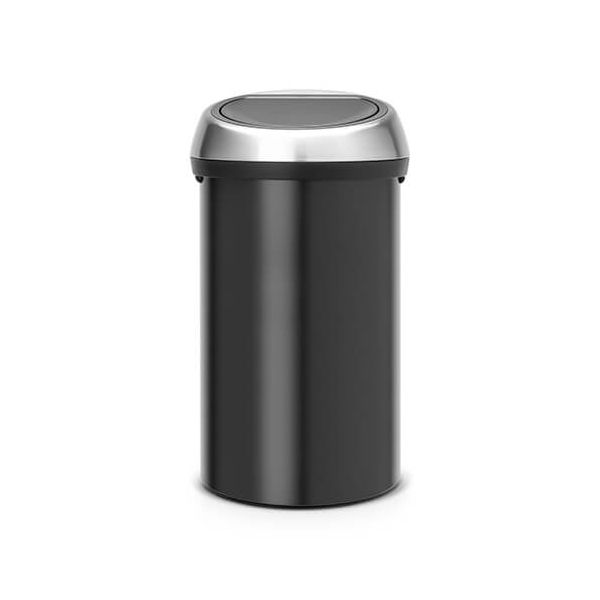 Brabantia Touch Bin 60 Litre Matt Black / Matt Fingerprint Proof Steel