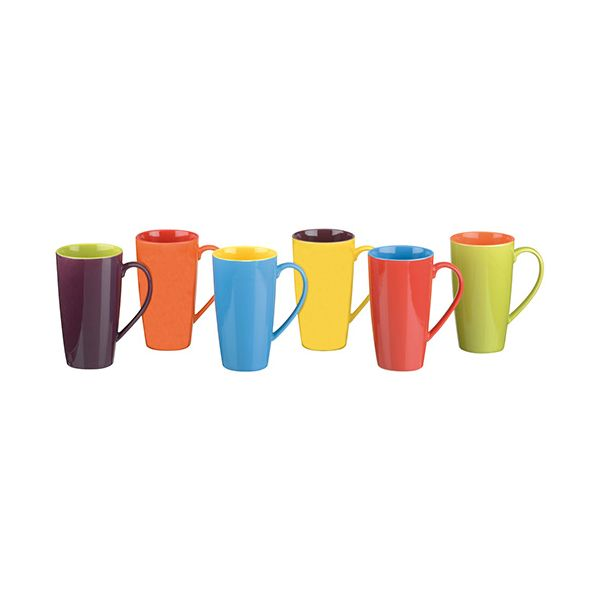 BIA Set of 6 Latte Mugs Assorted Colours