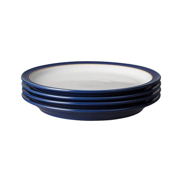 Denby Elements Dark Blue Set Of 4 Dinner Plates