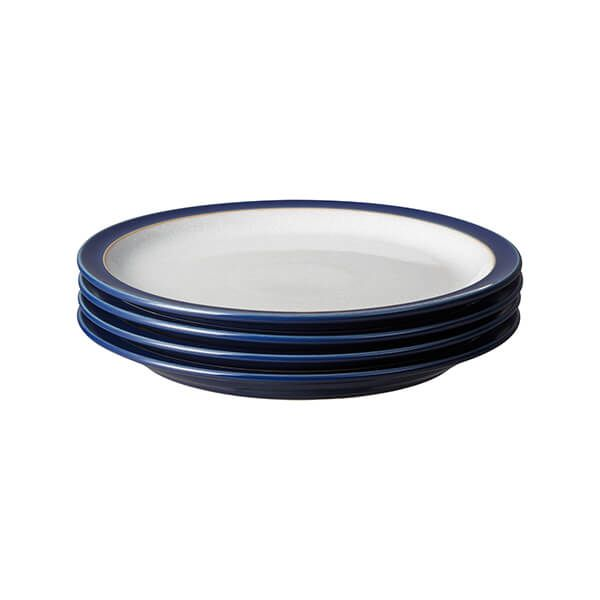Denby Elements Dark Blue Set Of 4 Medium Plate