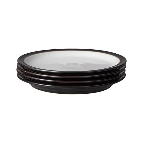 Denby Elements Black Set Of 4 Dinner Plates