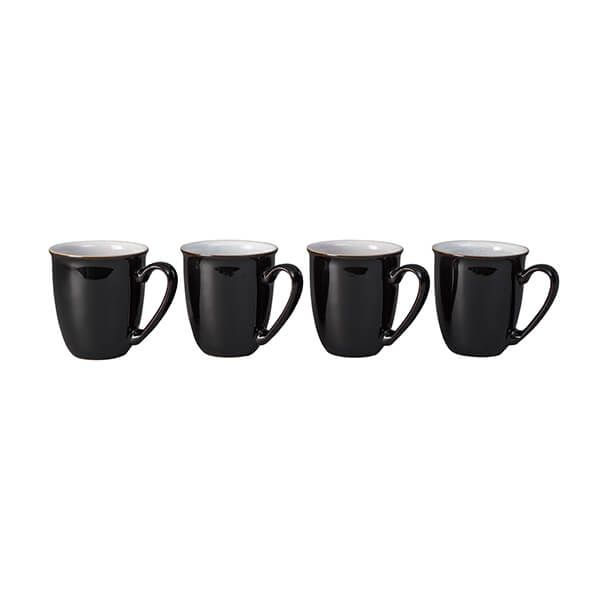 Denby Elements Black Set Of 4 Coffee Beaker Mugs