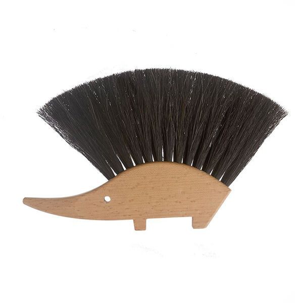Valet Hedgehog Brush Black Horsehair Bristles 14 x 11cm