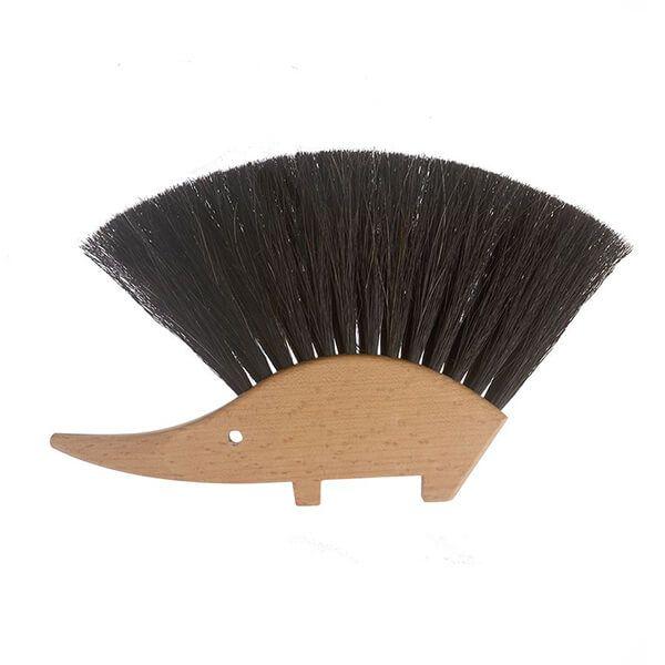 Valet Hedgehog Brush Black Horsehair Bristles 14 x 11cm
