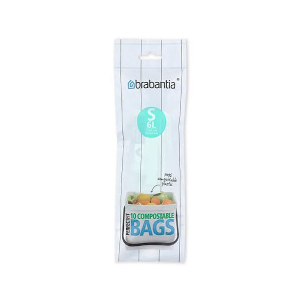 Brabantia Compostable Perfectfit Bags Size S 6 Litre 10 Bag Roll