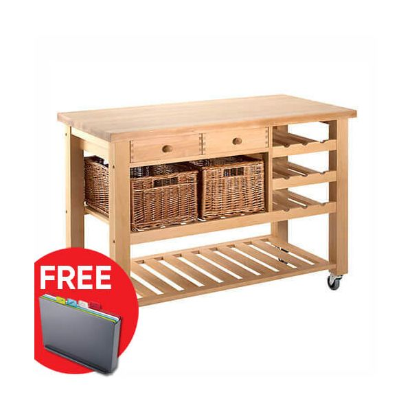 Eddingtons Lambourn Valley Wine Rack & Two Drawer Kitchen Trolley with FREE Gift