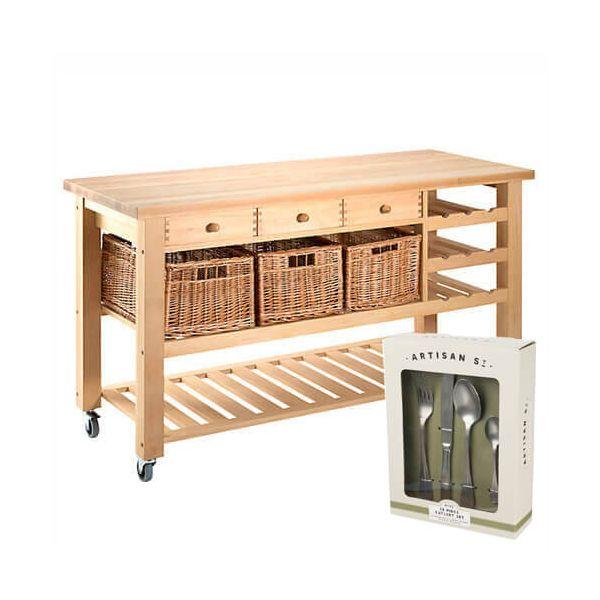 Eddingtons Lambourn Valley Wine Rack & Three Drawer Kitchen Trolley with FREE Gift