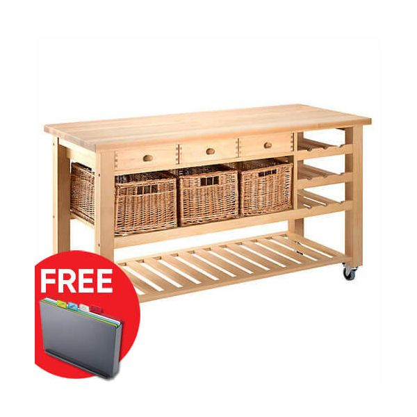 Eddingtons Lambourn Valley Wine Rack & Three Drawer Kitchen Trolley with FREE Gift
