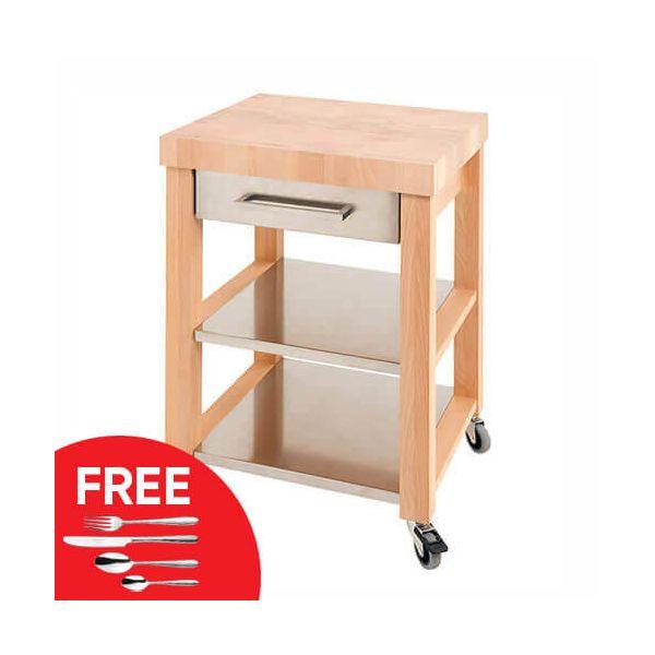 Eddingtons Chilton End Grain & Stainless Steel Drawer Medium Kitchen Trolley with FREE Gift
