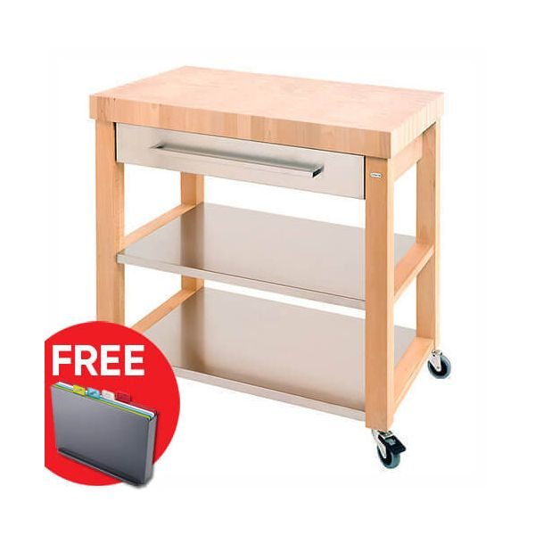 Eddingtons Chilton End Grain & Stainless Steel Drawer Large Kitchen Trolley with FREE Gift