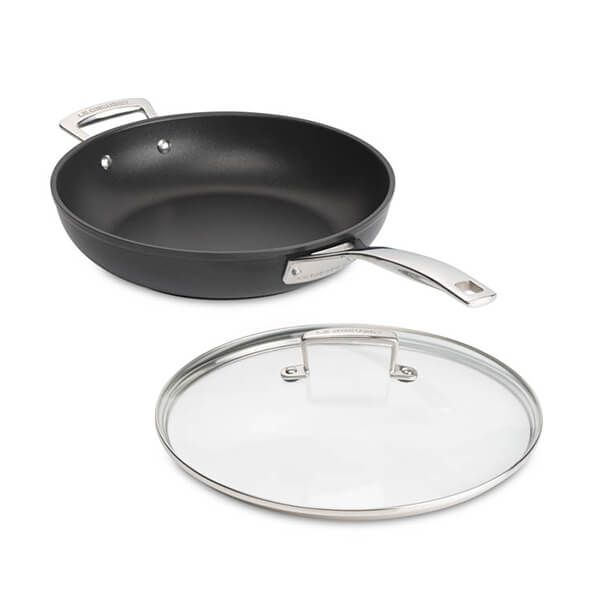 Le Creuset Toughened Non Stick 28cm Deep Fry Pan With Glass Lid