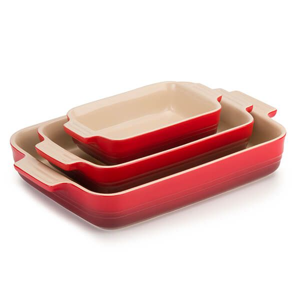 Le Creuset Cerise Classic Stoneware Rectangular Dishes 3 Piece Set