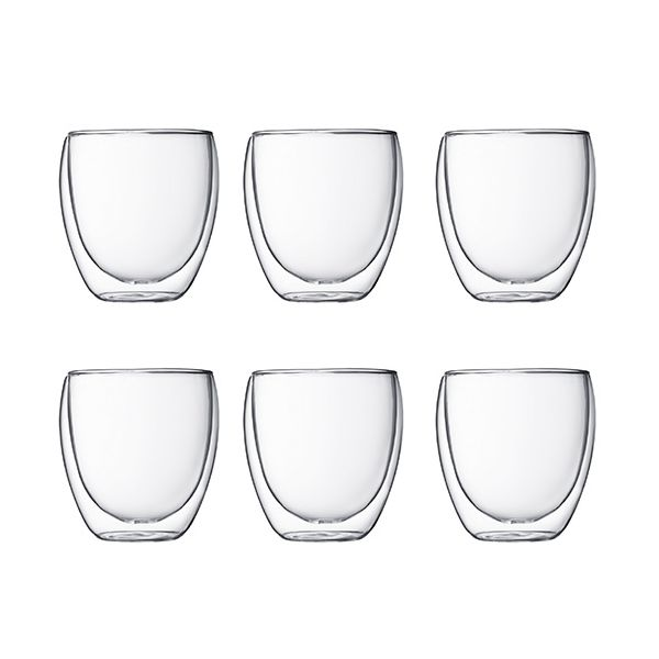 Bodum Pavina Double Wall Glass 0.25L / 8oz Set Of 6