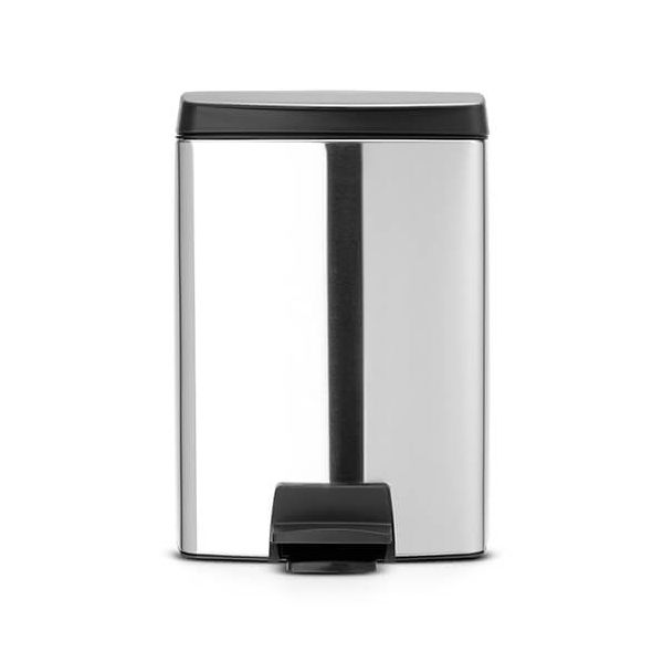 Brabantia Silent Pedal Bin Rectangular 10 Litre Matt Steel Fingerprint Proof