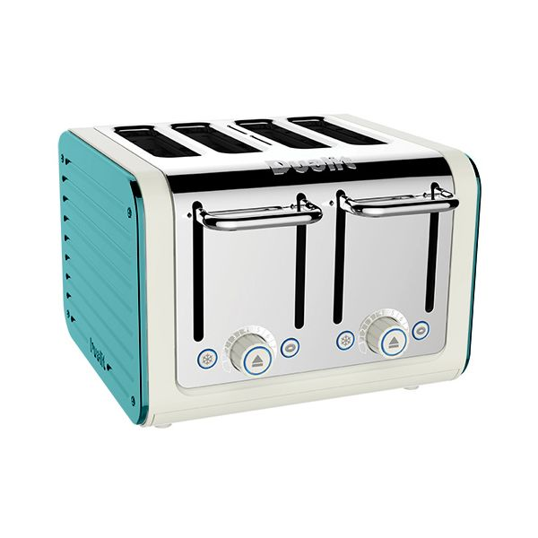 Dualit Architect 4 Slot Canvas Body With Azure Blue Panel Toaster