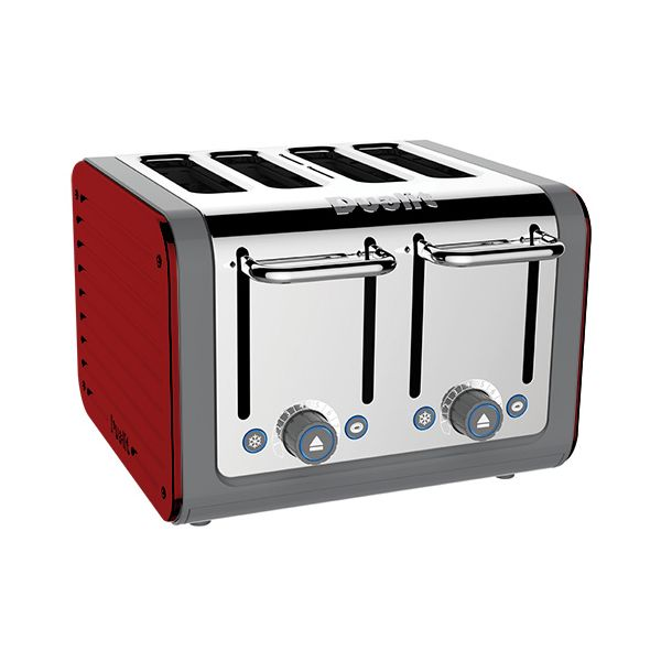 Dualit Architect 4 Slot Grey Body With Apple Candy Red Panel Toaster