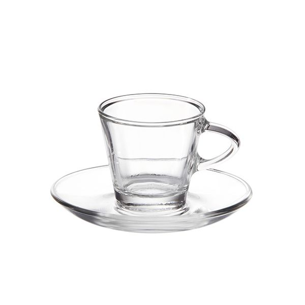 Eddingtons Glass Espresso Cup and Saucer Set Of 2