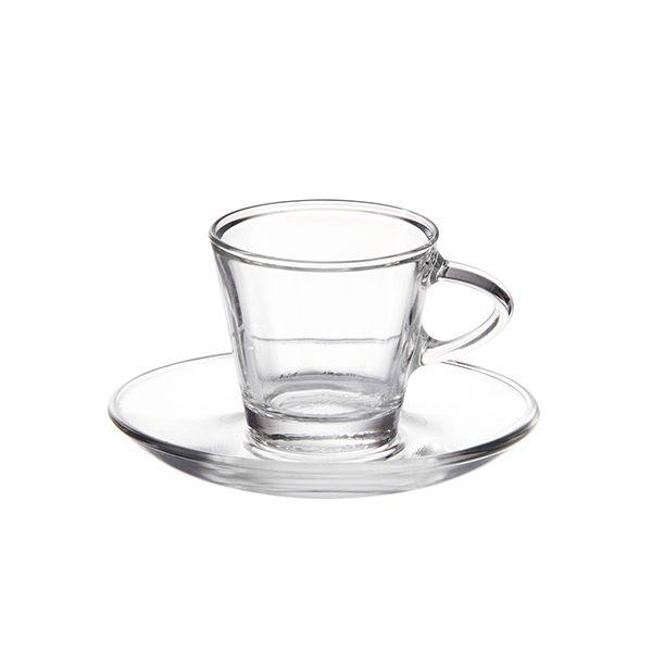 Eddingtons Glass Espresso Cup and Saucer Set Of 2