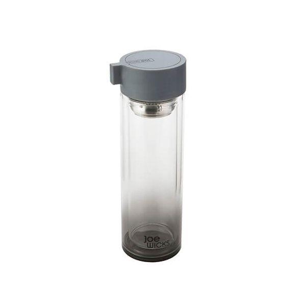 Joe Wicks Crystal Glass Water Bottle Grey 350ml