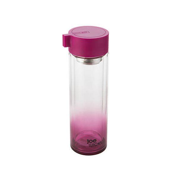 Joe Wicks Crystal Glass Water Bottle Raspberry 350ml