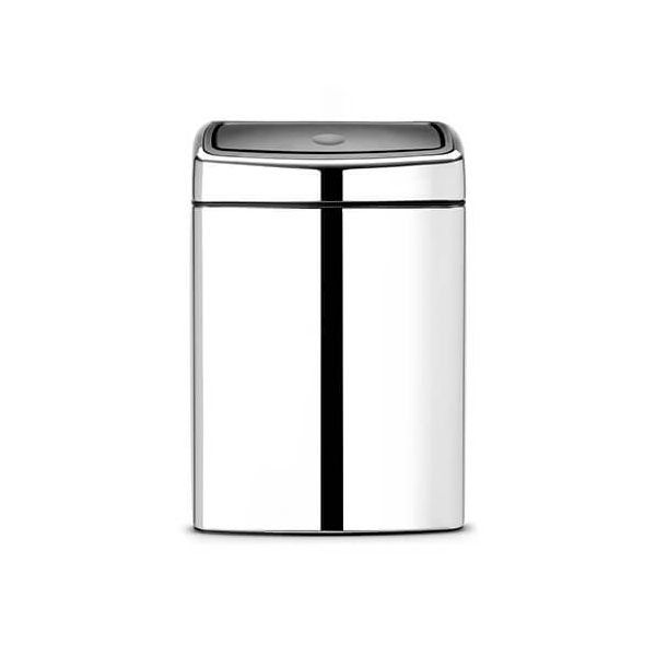 Brabantia 10 Litre Rectangular Touch Bin Brilliant Steel