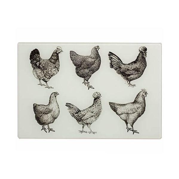Eddingtons Cockerel & Hen Large Black & Cream Worktop Saver 40 x 30cm