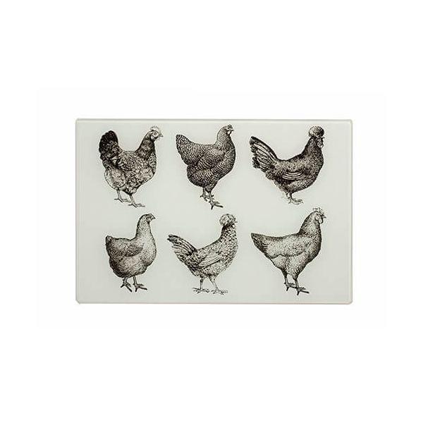 Eddingtons Cockerel & Hen Small Black & Cream Worktop Saver 30 x 20cm